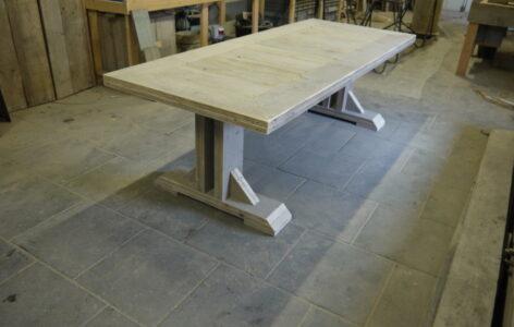 ≥ tafel steigerhout met grenen blad nieuw kruispoot tafels